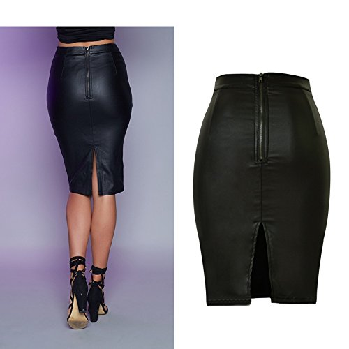 detailed images reputable site undefeated x Womens Faux leather High Waist Strech Pencil Skirt Black 38