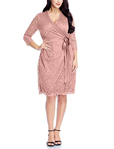 Grapent Womens Plus Size Misty Rose Floral Lace 34 Sleeves Formal True Wrap Dress Cocktail 2X