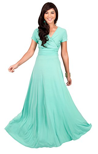 ad171a927d7b0 KOH KOH Plus Size Womens Long Sexy Cap Short Sleeve V-neck Flowy Cocktail  Gown Pleated Slimming Summer Day Casual Classic Maxi Dress, Color Mint ...
