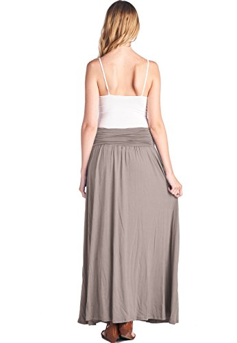 f3be71bd6303e3 TRENDY UNITED Women's High Waist Fold Over Shirring Maxi Skirt with Pockets  ...