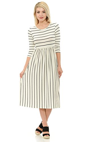 Iconic Luxe Women's Contrast Striped Fit and Flare Midi Dress with Pockets Small Ivory
